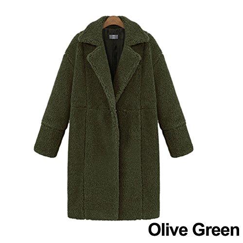 jannyshop Mujeres Invierno Cálido Outwear Ropa Chaqueta de lana de cachemir manga larga color sólido abrigo medias, crema, Medium Army Green