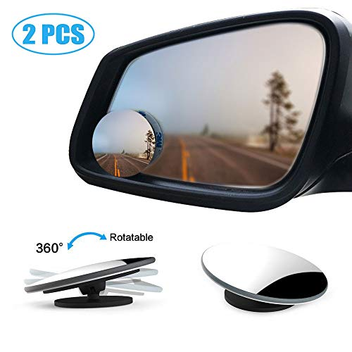 """Blind Spot Mirror, 2 Pack Round HD Glass Parking Rear Mirror, 2"""" Wide Angle 360°Rotate 30°Sway Frameless Convex Rear View Mirrors for All Car SUV Truck Van"""
