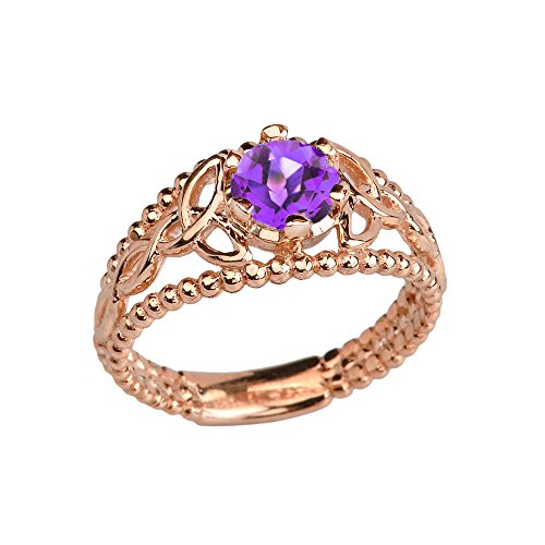 14k Rose Gold Modern Beaded Celtic Trinity Knot Engagement Ring with Genuine Amethyst (Size 7.5)