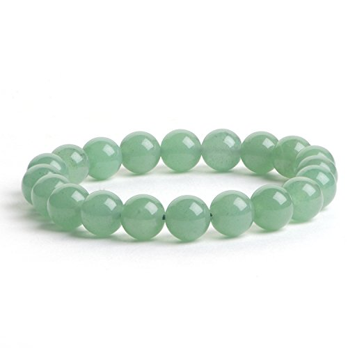 iSTONE 10mm Natural Semi Precious Stone Elastic Beaded Bracelet for 6.5-8 Inch Wrist Women Men (Green Aventurine1)