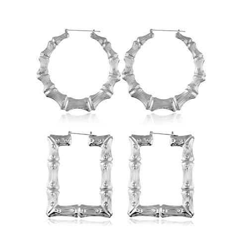 2 Pairs Large Bamboo Hoop Earrings Set Gold Plated Exaggerated Big Statement Hip-Hop Geometric Earrings for Women Girls-silver]()
