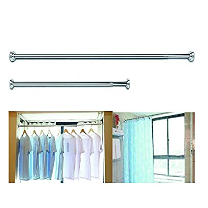 Extendable Telescopic Shower Curtain Rail Rod Pole Bath Door Window Wardrobe Rod
