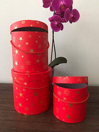 [USA-SALES] Premium Quality Round Flower Box, Flower Hat Box, Set of 3 pcs, with Lids, Size (S/M/L) (Golden Stars, Red)