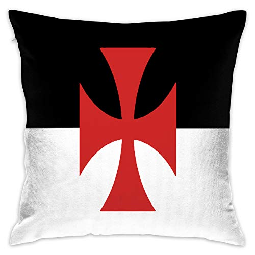 Square Battle Flag (LX-LINK Throw Pillow Cases Crusades Knights Templar Battle Flag Print Decorative Square Throw 18 X 18 Pillowcase for Home Sofa Bedroom Office Car Bar (Set of 2))