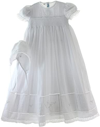 8678ea780 Girls White Smocked Christening Baptism Gown Bonnet Set with Pearls