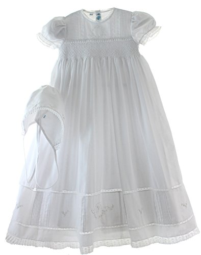 Girls-White-Smocked-Christening-Baptism-Gown-Bonnet-Set-with-Pearls
