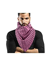 Holly LifePro 100% Head Neck Cotton Shemagh Arab Military Keffiyeh Tactical Desert Scarf Wrap with Tassels for Women and Men, Pink