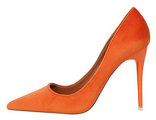 Aisun Femmes Robe Simple Coupe Basse Haute Talons Aiguilles Slip Sur Bout Pointu Pompes Chaussures Orange