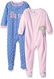 Carter\'s Girls\' 2-Pack Fleece Pajama Set, Purple/Pink, 18 Months