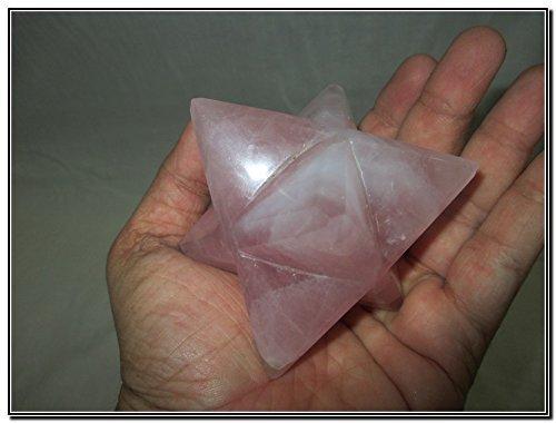 """Rare New Natural Rose Quartz Large 2"""" Merkaba Gemstone Huge Big A+ Hand Carved Mineral Rock Crystal Altar God Prayer Mantra Om"""