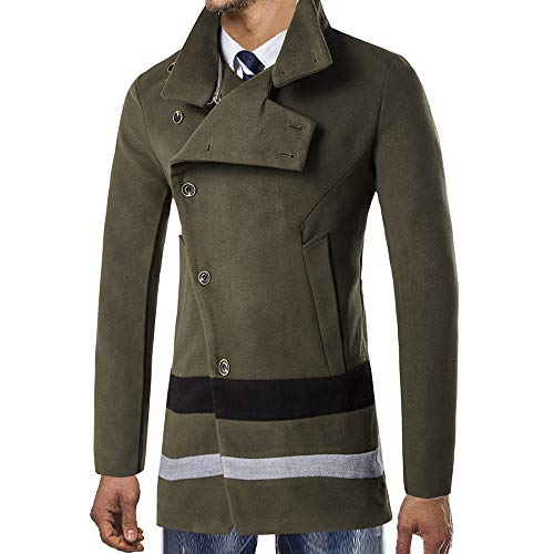 ddb5067749b5 Homme Vert Outwear Trench Bouton Pour Long Uribaky aXwqx