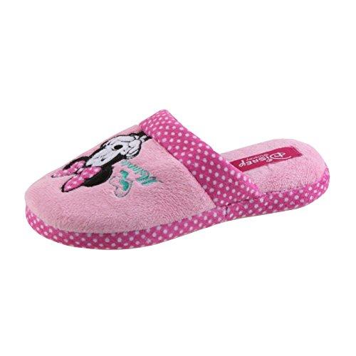 Tierhausschuhe Disney Minnie Maus Tier Hausschuhe Pantoffel Schlappen Slipper Kuscheltier Plüsch Mädchen, TH-Minnie Slipper gepunktet rosa