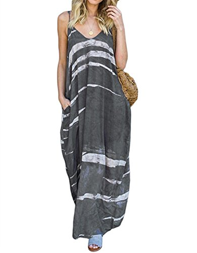 Ussuperstar Women's Cozy Printed Strap Maxi Dress Tie Dye Long Nightgown with Pockets (Gray, XL)