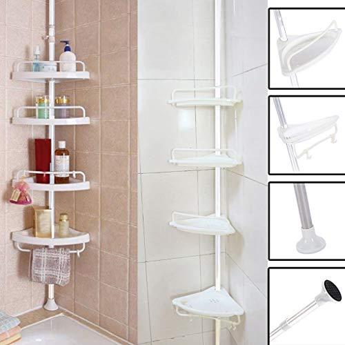 Gotian Bathroom Bathtub Shower Caddy Holder Corner Rack Shelf Organizer Accessory, Saving Space and Keep Neat - (Iron Tube + PVC) Four White Plastic Shelves ()