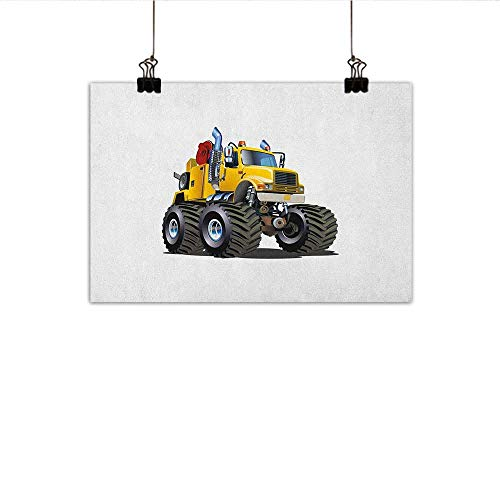 MartinDecor Truck Simulation Oil Painting Illustration of a Giant Wheeled Monster Truck Mechanic Beast Emergency Decorative Painted Sofa Background Wall 24