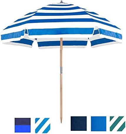 6.5 Shade Star Beach Umbrella Color Pacific Blue White Stripe