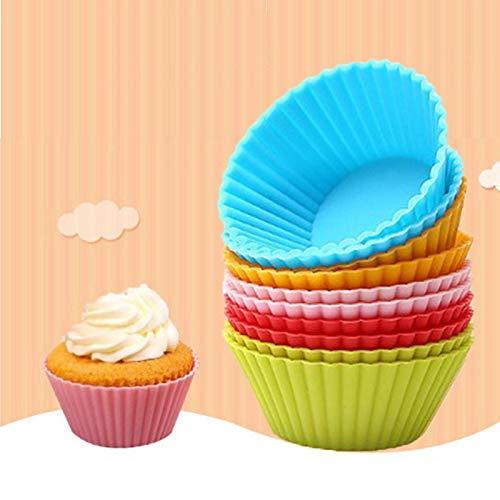 Silicone Bakeware Case - Urijk 12pcs Muffin Silicone Mold Bakeware Cupcake Liners Mold Baking Cake Decorating Tools Kitchen Supplies Random Colors