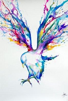 Marc Allante Achilles Bird Water Color Urban Grunge Modern Decorative Art Poster Print (24x36 UNFRAMED POSTER)