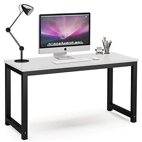 Computer Desk,Modern Simple Style PC Desk Study Office Desk Computer Table Study Writing Table for Home Office, White +Black Leg 47