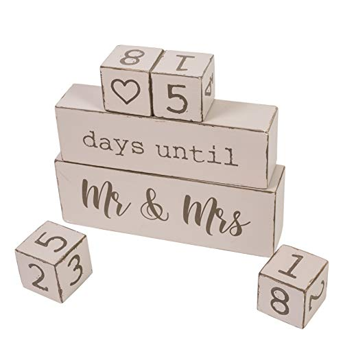Rainbow Reversible 6 Piece Wooden Block Wedding Day Countdown Calendar - Unique & Funny Engagement Gift for Bride to Be or Fiance or Couples. Perfect for Bridal Shower and Engagement Party