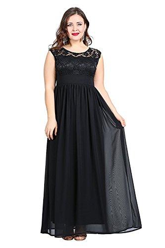 Große Größen Ballkleider Mingxuerong Lange Schwarz Spitze Damen Damenmode Abendkleider