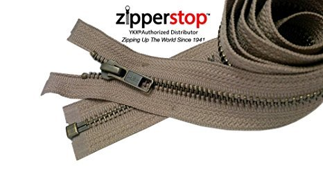 Zipperstop Wholesale YKK®- Jacket Zippers YKK® #5 Antique Brass- Metal Teeth Separating for Crafter's Special Color Muscade Beige #810 Made in USA -Custom Length (35 inches)
