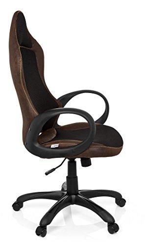 hjh OFFICE 621872 silla gaming RACER VINTAGE II piel sintética marrón, ergonómica, tejido de malla 3D, con apoyabrazos, cómoda, inclinable, ajuste de altura ...