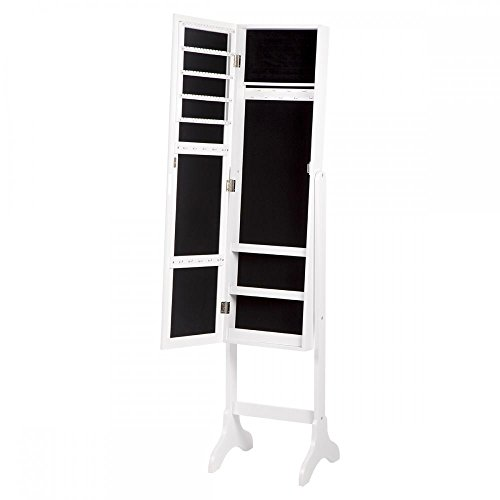 Lockable Mirrored Jewelry Cabinet Armoire Mirror Organizer Storage w Stand - 48' Cabinet