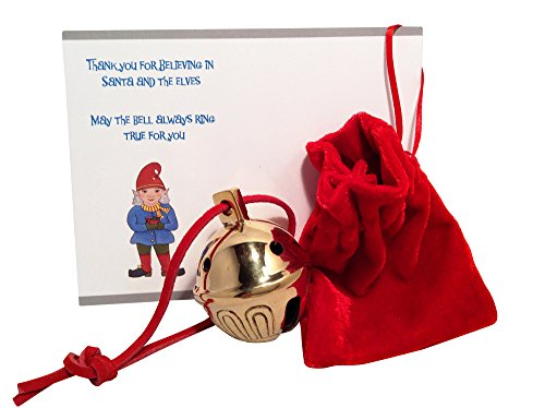 Authentic Golden Brass Sleigh Bell #5 From Santa's Sleigh W Personalized Note Express From the - Velvet Santa Harness Red