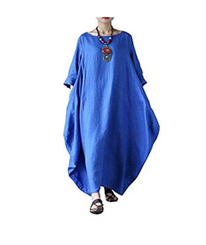 Estate Dress Puro Manica Pzj Colore Abito Vento Donna Lunga Sexy Blu Da Nazionale VestitiCasual Cocktail Vestito qVLUMjzGSp