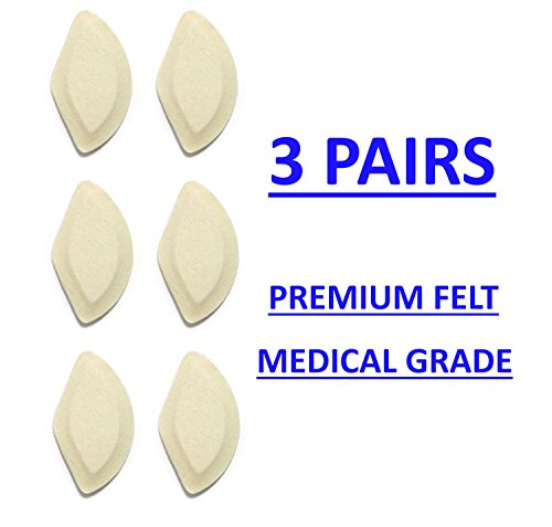 Premium Felt Foot Arch Support Pads - Shoe Inserts - 3 Pairs - 1/4