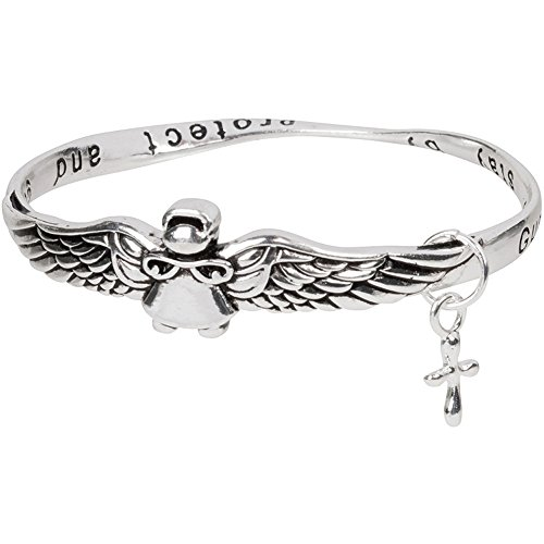 Heirloom Finds Silver Tone Guardian Angel Bangle Bracelet Guide and Protect (Guardian Angels Bracelet)