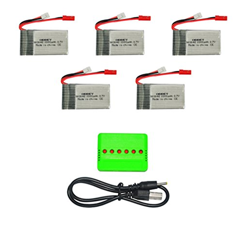 OBBEY Supper Fly Charger Battery Sets 3.7V 1000mAh 20C Lipo Battery 5Pcs and X5 Charger for MJX T04 T05 T25 M03 F28 F29 RC Quadcopter