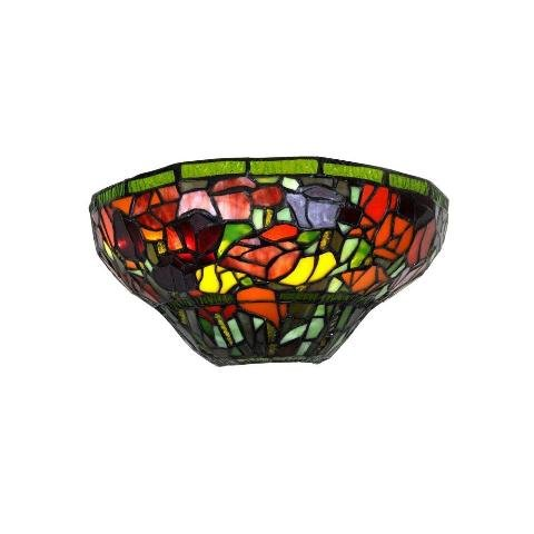 Smart Solar SMS958 IEL-AMB1004 Stained Glass Half Moon Sconce with Roses - Indoor only / 3 Stage dimmer w/Remote by Smart Solar