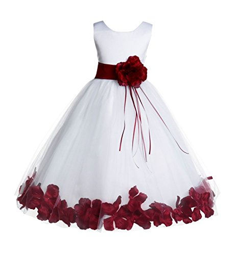 White Tulle Floral Rose Petals Junior Flower Girl Dress Pageant Dresses 007 8