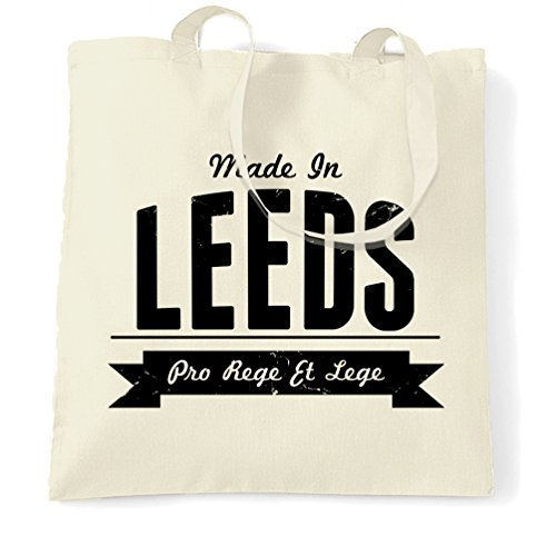 Made in Leeds Roundhay Kikstall Abbey House Museum Thwaite Mills Meanwood Valley Distressed Shopping Tote Bag Cool Funny Gift Present Bag (Christmas Roundhay Park)