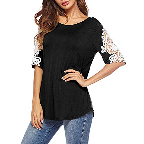 Summer T Shirt Women Lace Patchwork Short Sleeve Tee Tops, Casual Loose Fit Tunic Blouse Shirt Black