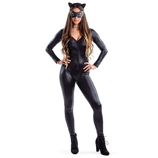 Womens Faux Black Leather Cat Bodysuit Sexy Womens Catsuit Halloween Costume