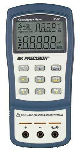 B&K Precision 830C Dual Display Handheld Capacitance Meter, 199.99 mF Max Range ()