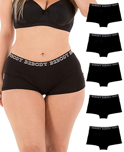 Cotton Underwear Women - Boyshort Panties for Women Small to Plus Size 5 Pack - Black Boyshort Set