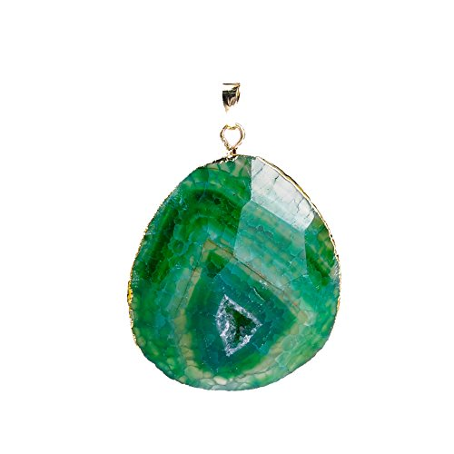 Green Oval Charm (Ruilong Oval Faceted Crack Geode Druzy Quartz Necklace Pendant Natural Stone Agate For Jewelry Making)
