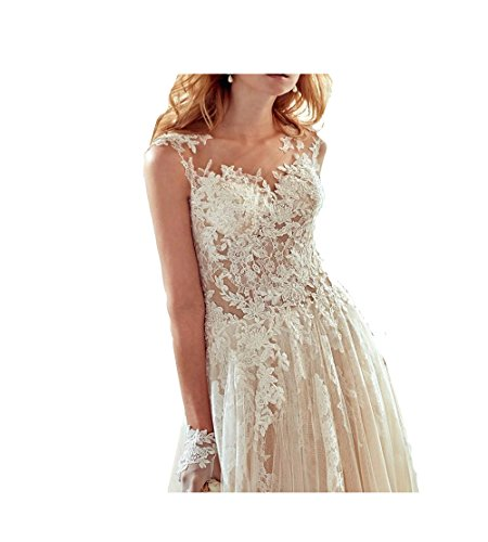 GBWD Womens Wedding Dresses Elegant Beads Lace Applique A-Line Wedding Bridal Gowns Vestidos De novia at Amazon Womens Clothing store: