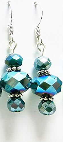 Iridescent Teal Faceted Glass Dangle Earrings - 50 Shades of Teal