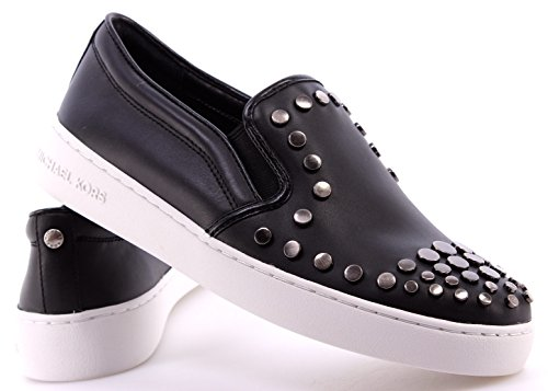 Scarpe Donna Sneakers MICHAEL KORS Keaton Slip On Leather Black Studs Nere Nuove