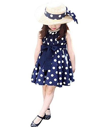 Summer Sleeveless Polka Dot Cress (Navy Blue) - 1