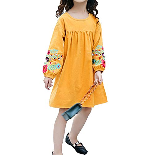 ASHER FASHION Tshirt Dress Toddler Girls with Sleeves Lovely Bohemian Dress with Flower Embroidered (Yellow 11-12t)