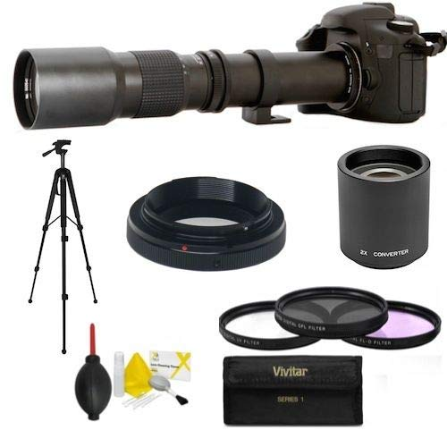 HD Telescope TELEPHOTO Zoom Lens 500-1000MM for Canon EOS Rebel T3 T3I T5 T5I T2 XS D7 70D T6 T6I T6S T7 T7I 5D 6D 80D