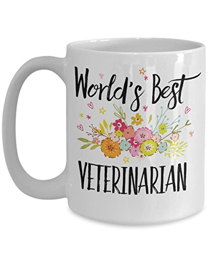 Veterinarian Mugs - World's Best Veterinarian Mug - White Ceramic Veterinary Coffee Mug / Tea Cup as Novelty Gift for Family Members, Friends and Coll