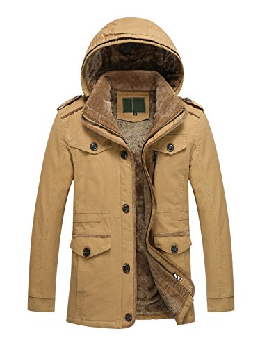 Brown Trench (Chartou Men's Basic Single-Breasted Fleece Lined Fur Hooded Trench Coat XS-XXL (X-Large, Tan))