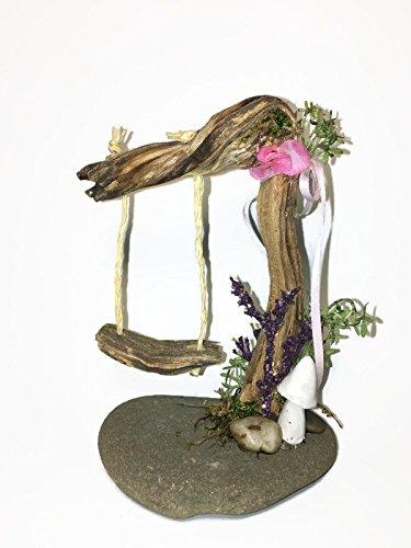 miniature swing with flowers for indoor fairy gardens - Indoor Fairy Garden